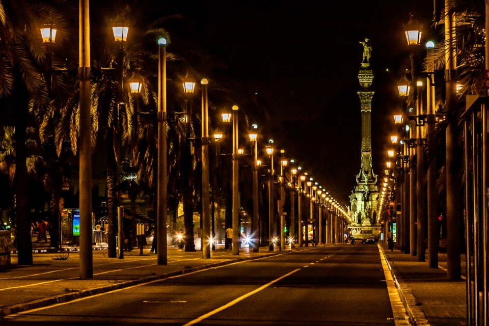 night view in Barcelona