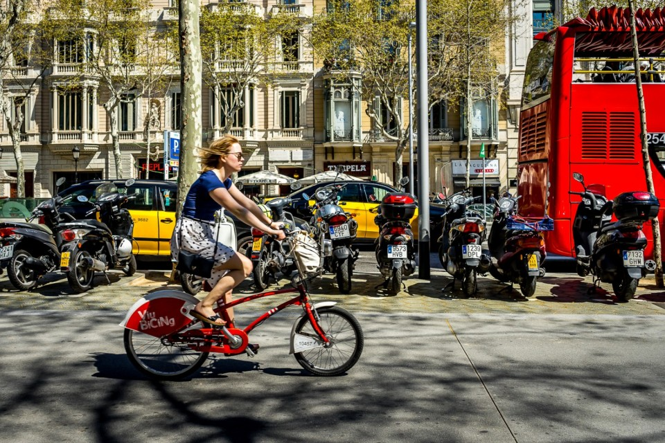 Girl on bike. Barcelona