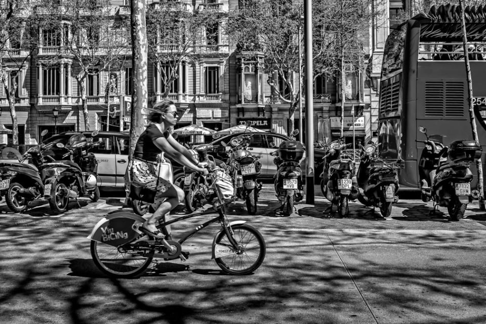 Girl on bike. Barcelona