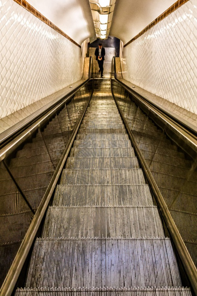 Escalators. Metro Paris